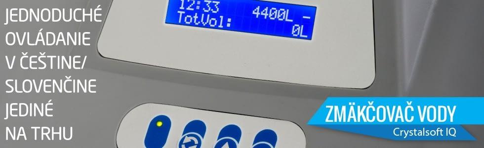 Kvalitný soľankový zmäkčovač vody Crystal SOFT IQ s jednoduchým ovládaním