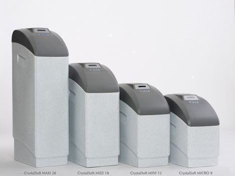Zmäkčovače vody CrystalSOFT IQ sú vyrábané vo veľkosti MAXI, MIDI, MINI, MICRO