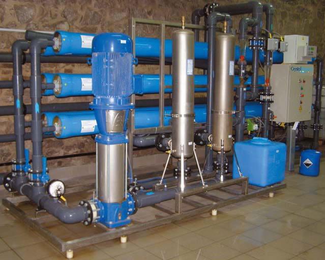 Priemyselná reverzná osmóza s výkonom do 20m³ demineralizovanej vody za hodinu.